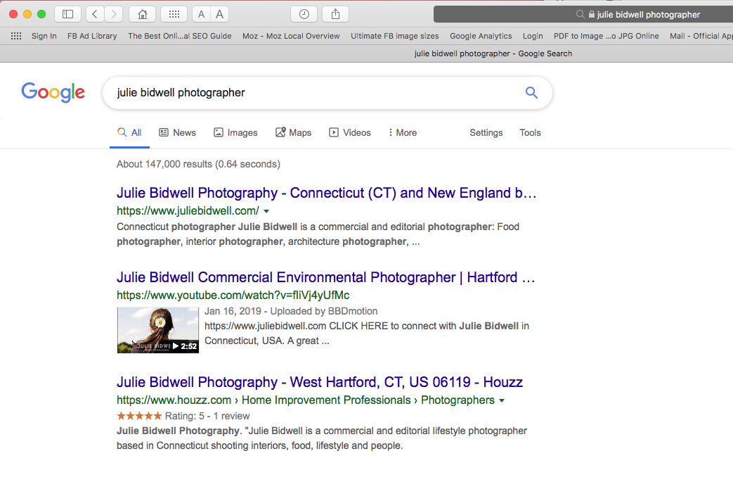 Julie Bidwell Photography image of SERP search results