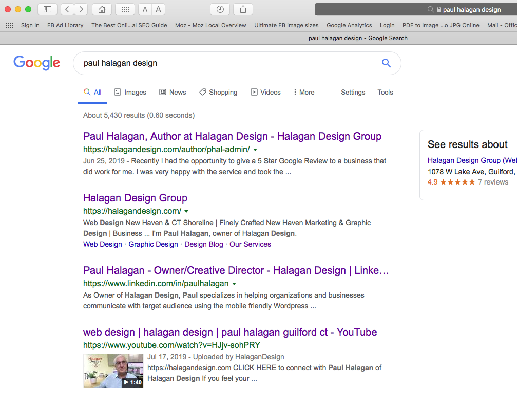 Paul Halagan Design image of SERP search results