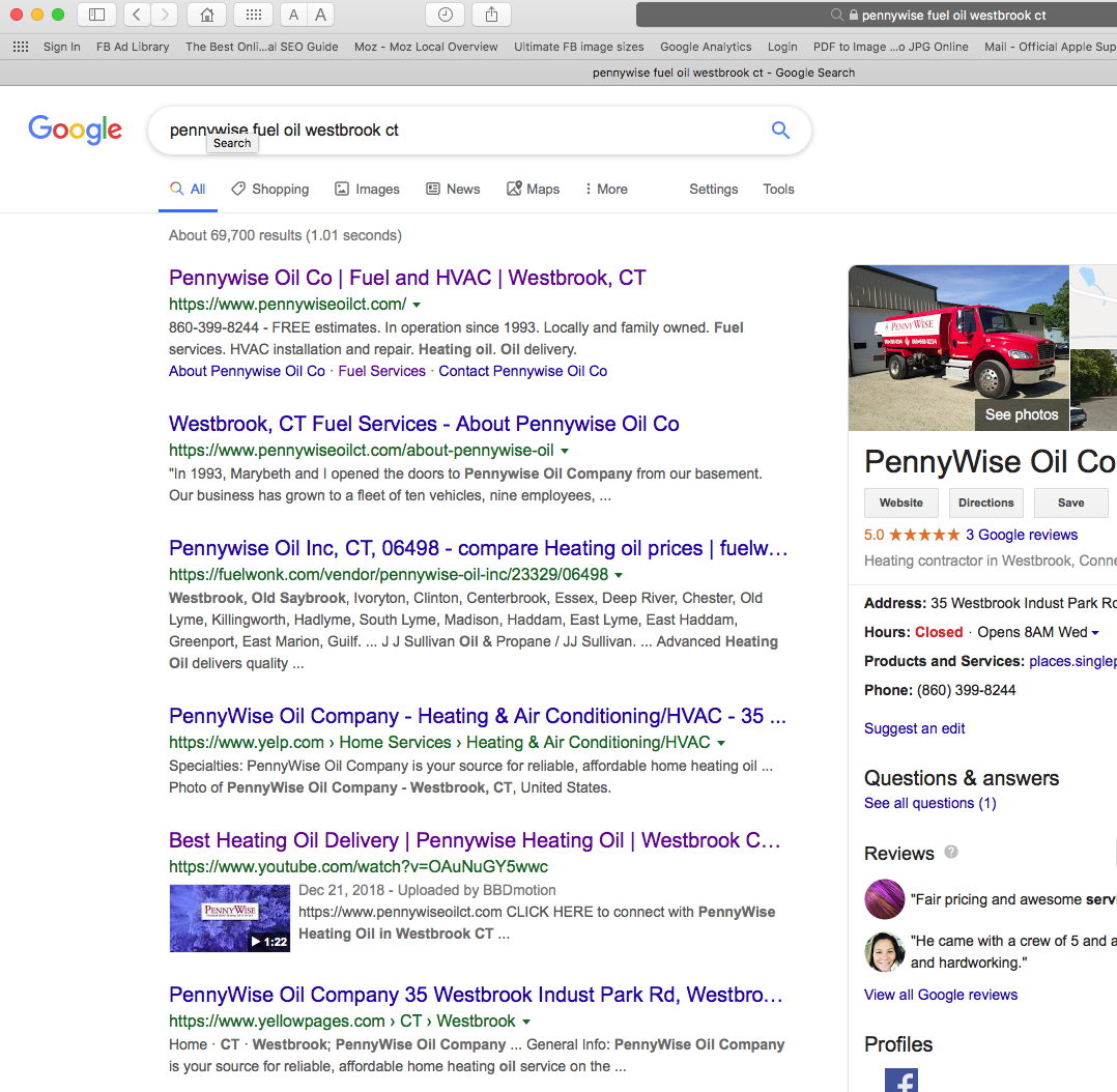 PennyWise Oil image of SERP search results
