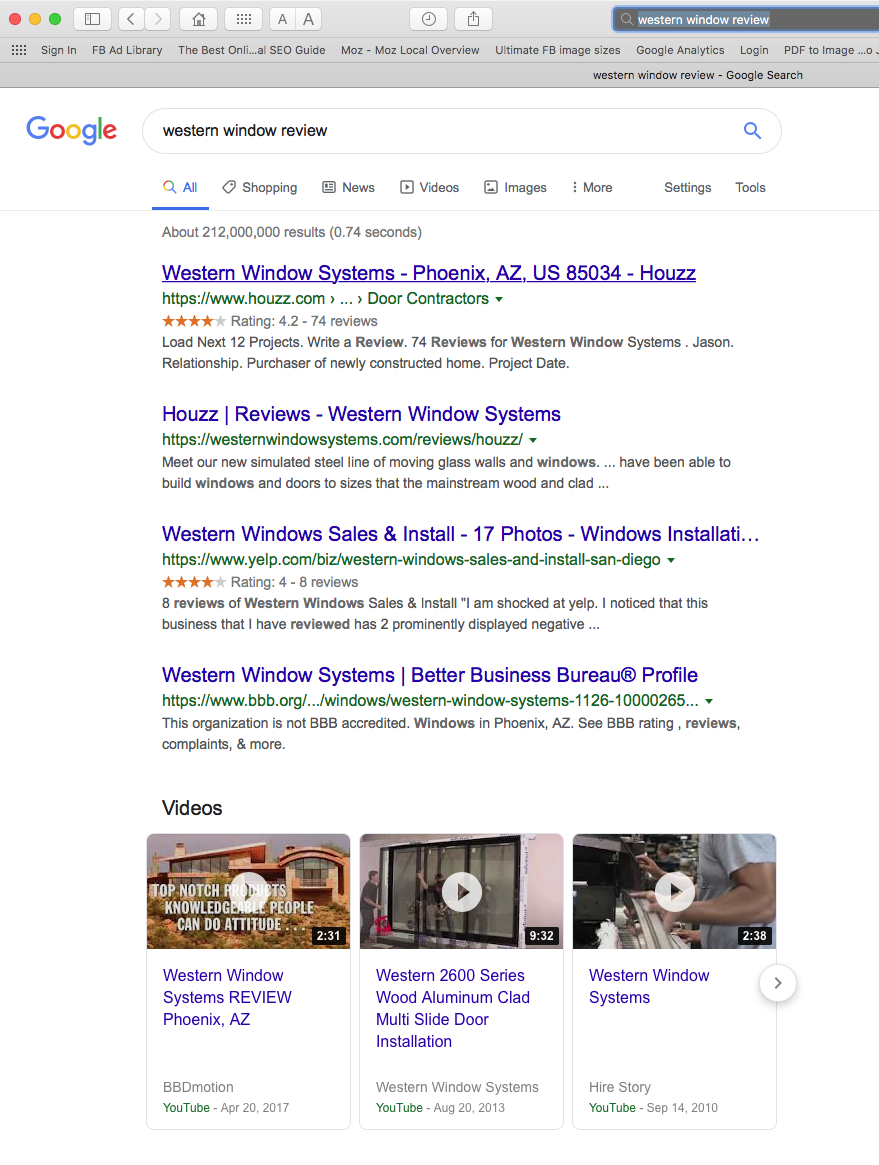 Western Window Systems image of SERP search results