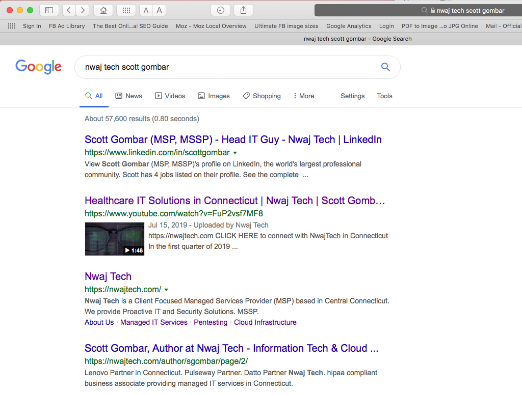 Nwaj Tech Scott Gombar image of SERP search results